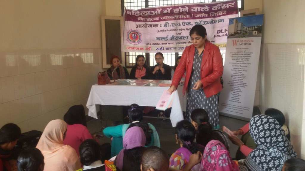 cancer screening camp for families in Wazirabad, Gurgaon.