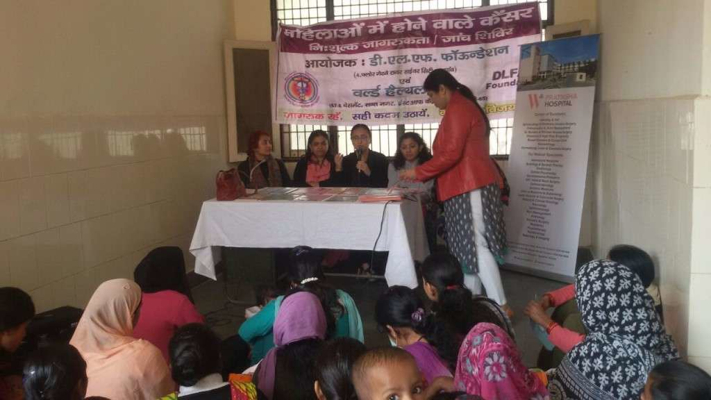 cancer screening camp for families in Wazirabad, W Pratiksha Hospital Gurgaon.